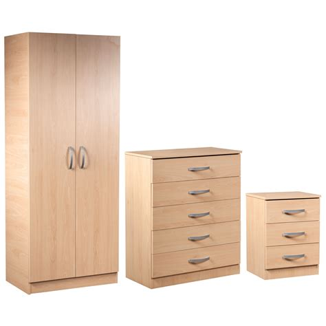 2 door wardrobe 5 drawer chest and 3 drawer bedside