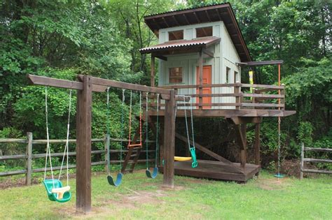 Diy Treehouse Plans Plans Outdoor Playhouse With Swing Set Playhouse Swingclick