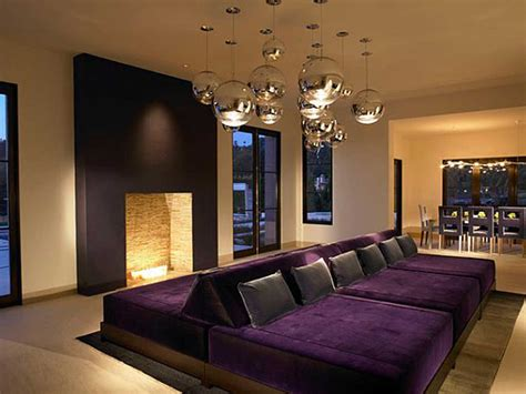 Living Room Ideas With Home Theater Purple Velvet Sofa With Gray Pillow Sofa Bed Placed On The