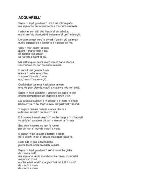 toquinho acquarello testo acquarell di quilly tranquilli cantata e