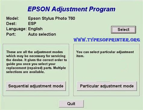 resetter of epson t60 resetter epson t60 printer adjustment program step by
