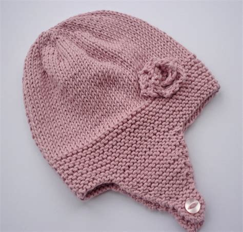 earflap hat knitting pattern knitting pattern baby earflap hat with flower by