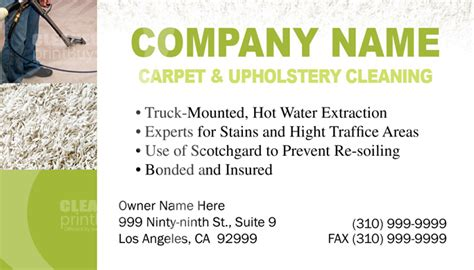 Professional Car Upholstery Cleaning Carpet Cleaning Business Cards C0003 Back View