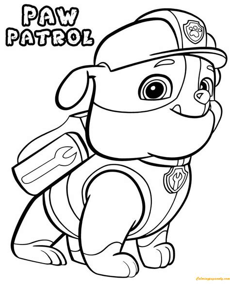 paw patrol spring coloring pages paw patrol rubble coloring page free coloring pages online
