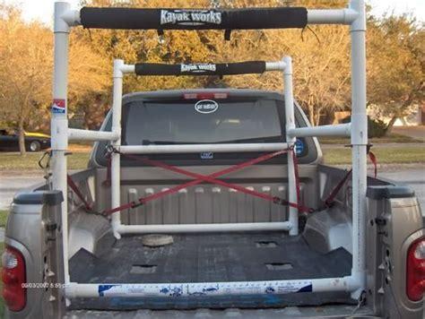 boat in pickup bed homemade pvc kayak rack for pickup bed kayak fishing