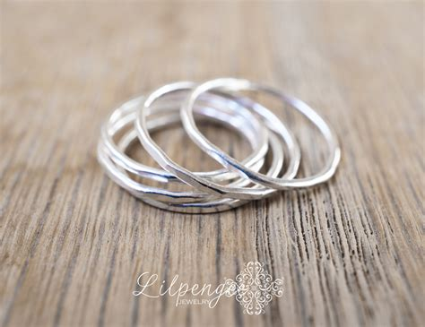 the silver one slim sterling silver stacking ring thin