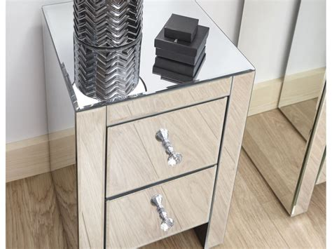 contemporary mirrored clear glass  drawer slim bedroom chest