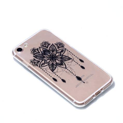 coque iphone 7 8 transparente fleur grise