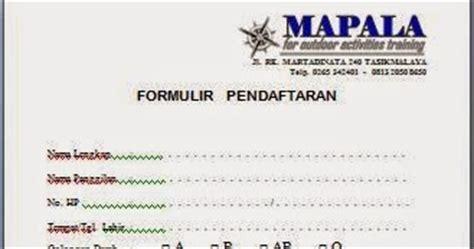 contoh formulir pendaftaran anggota baru organisasi