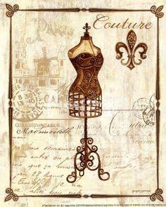 imagenes vintage maniqui cuadro provencial collage fleur de lis cojines