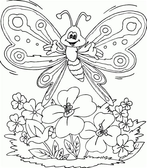 coloring pages of flowers and butterflies butterfly over flowers coloring page coloring com