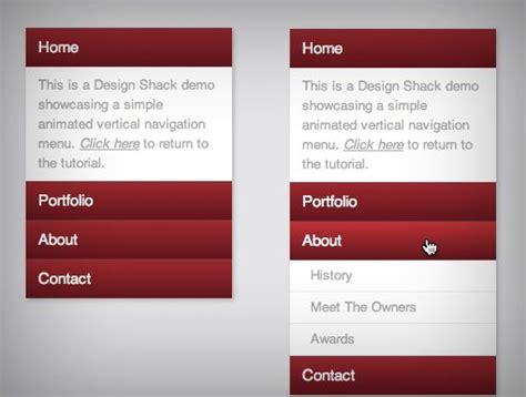 menu design using html and css code a useful expanding vertical navigation menu design