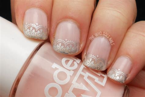 Simple Lace Wedding Nails wedding nails idea silver lace she who does nails