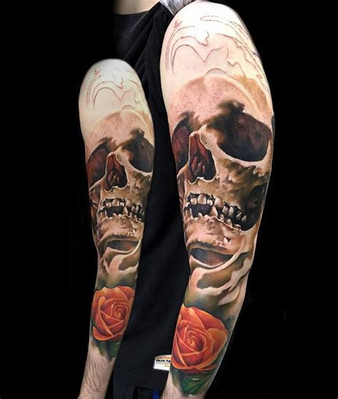 tattoo 3d caveira skull rose sleeve best tattoo design ideas