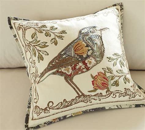 bird applique pillow cover