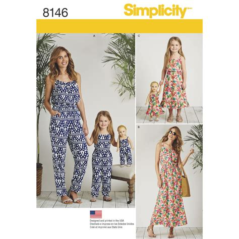 pattern matching clothes simplicity pattern 8146 matching outfits for misses child