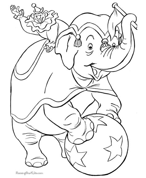 Circus Elephant Coloring Page Circus Animal Coloring Pages