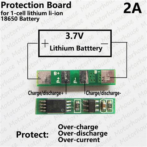 2a 1s pcb protection circuit for 3 7v 18650 li ion lithium