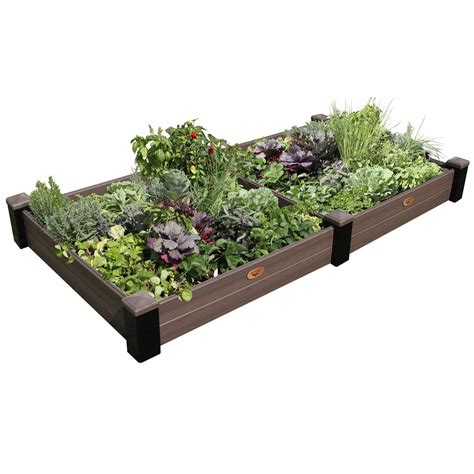 Vinyl Raised Garden Beds by Gronomics 48 In X 91 In X 10 In Maintenance Free Black