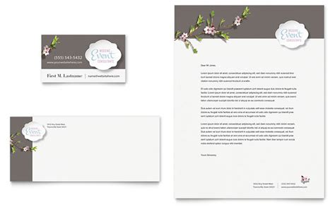 Business Cards Letterhead Wedding Planner Business Card Letterhead Template Design