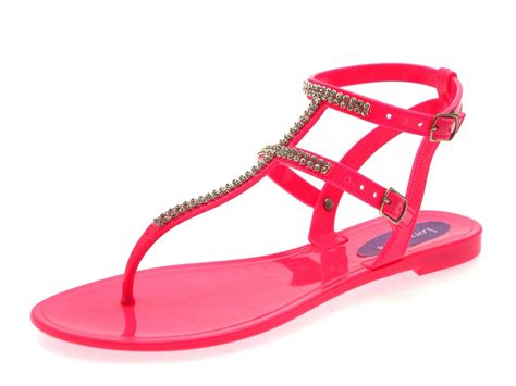 jelly sandals womens diamante sandals summer flat jelly shoes