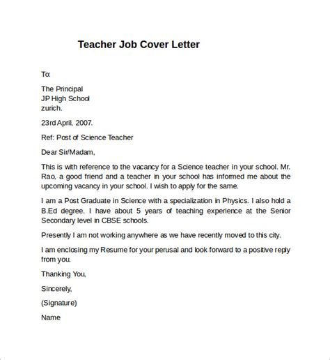 cover letters exles for teachers sle cover letter for teaching application cover