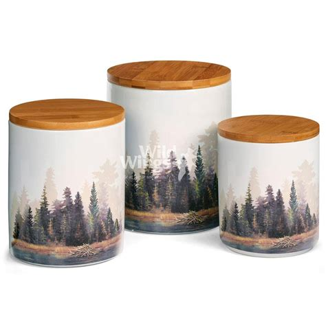 Large Kitchen Canisters by Misty Forest Ceramic Canister Set Set Of 3 Food Storage