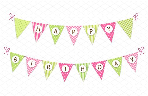 cute happy birthday banner printable cute happy birthday bunting flags graphics creative market