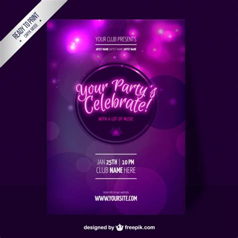 party flyer design kostenlos lila party flyer schablone download der kostenlosen vektor