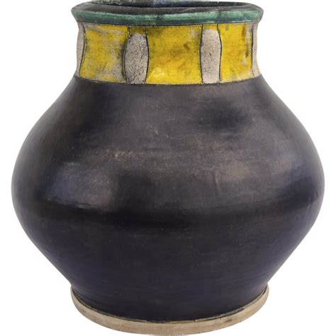 Yellow Pottery Vase by Large Pottery Vase Black Yellow From Blacktulip On
