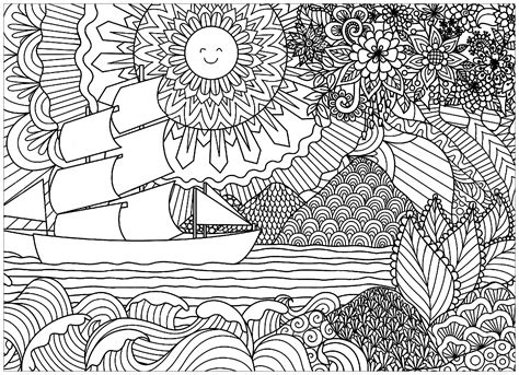 coloring pages for adults boats paysage marin avec bateau et soleil paysages