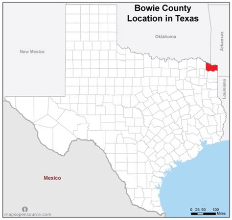 bowie county texas map free and open source location map of bowie county texas mapsopensource