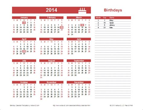 calendar year template birthday calendar template yearly birthday calendar