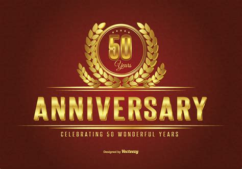 50 years anniversary golden golden fifty year anniversary illustration download free