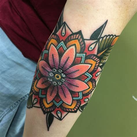 traditional elbow tattoo my traditional mandala done by nary at