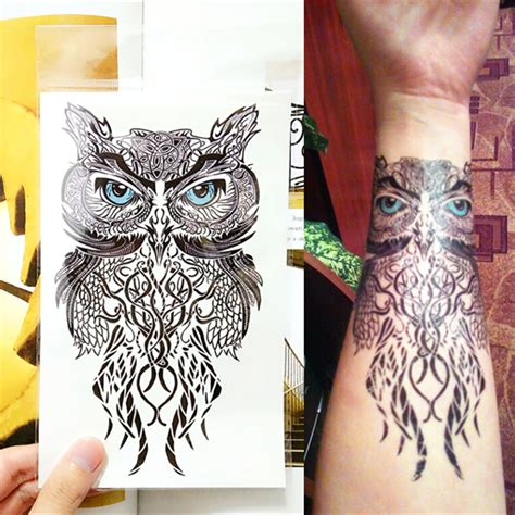 owl jewel tattoo wise owl temporary tattoo body art flash tattoo stickers