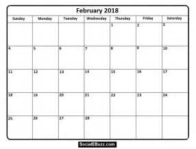 Calendar 2018 Working Days February 2018 Calendar Printable Template Pdf With