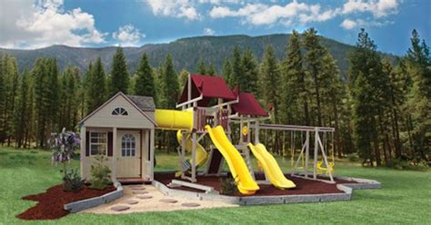 troline swing set combo playhouse swing set combo yes the yard pinterest