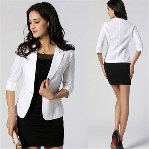 Blazer Korea Black Style 3 stylish 3 4 sleeve suit blazer lapel button ol