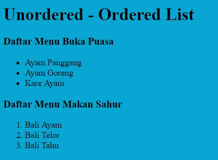 html tutorial ordered list tutorial cascading style sheet css unordered ordered