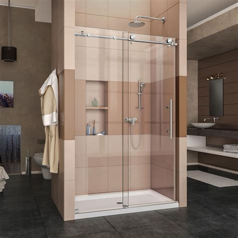 shower doors home depot dreamline enigma x 44 in to 48 in x 76 in frameless sliding shower door in polished stainless