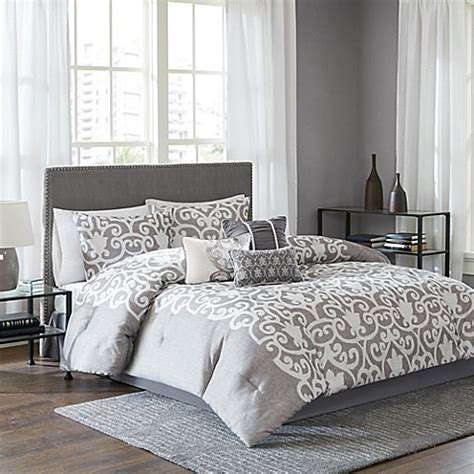 bed bath and beyond white comforter lotus comforter set in grey white www bedbathandbeyond com