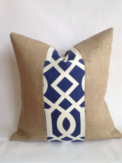 Outdoor Burlap Pillows by Navy And White Outdoor Fabric And Burlap Pillow Cover