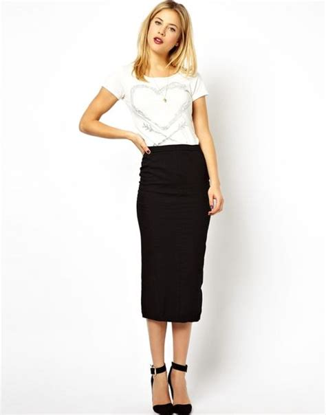 asos denim seamed midi pencil skirt in clean black in
