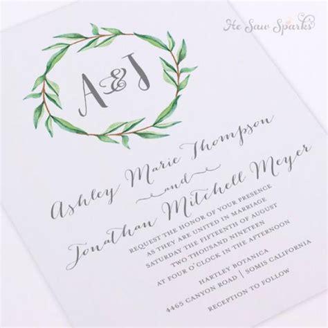 free printable wedding invitation monogram printable wedding invitation watercolor monogram wreath