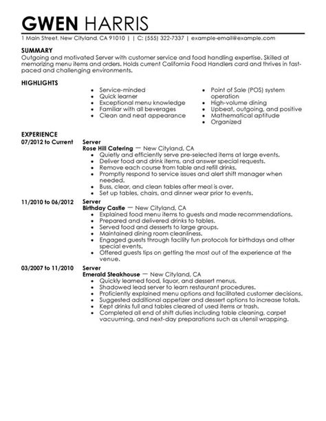 Waiter Resume Bullet Points 10 Restaurant Server Resume Writing Resume Sle Writing Resume Sle