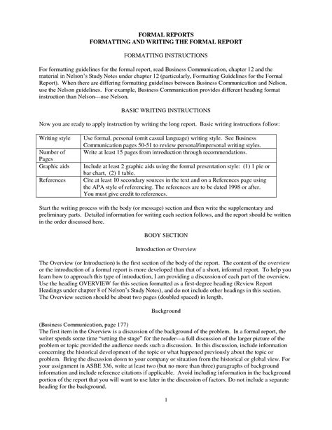 formal report template best photos of formal report format formal report format