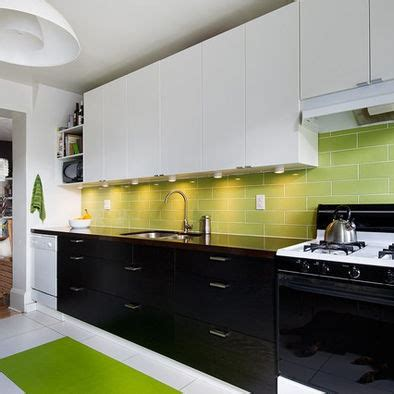 Lime Green Backsplash With White Top And Black Bottom Kitchen Cabinets White Top Black Bottom