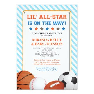 All Sports Baby Shower by Football Theme Baby Shower Invitations Announcements