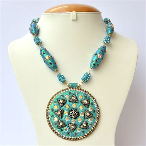 Handmade Necklaces - handmade blue glitter necklace with rhinestones